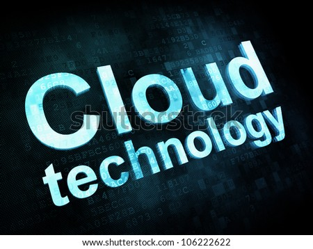 Information technology concept: pixelated words Cloud technology on digital screen, 3d render - stock photo
