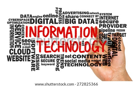 information technology concept with related word cloud handwritten on whiteboard - stock photo