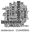 Information Technology info-text graphics arrangement on white background - stock photo