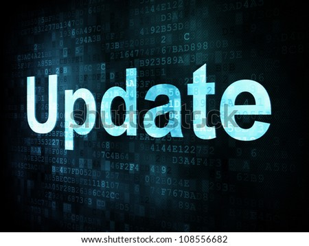 Information technology IT concept: pixelated words Update on digital screen, 3d render - stock photo