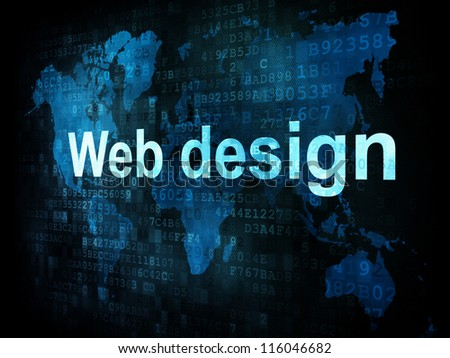 Information technology IT concept: pixelated words Web design on digital screen, 3d render - stock photo