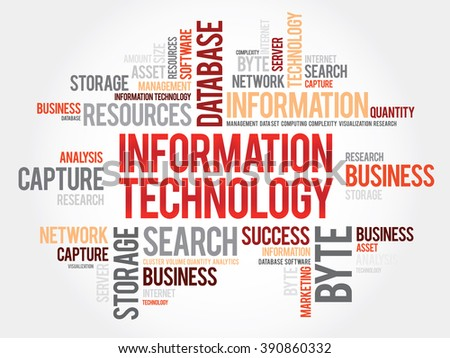 Information technology word cloud, business concept - stock photo