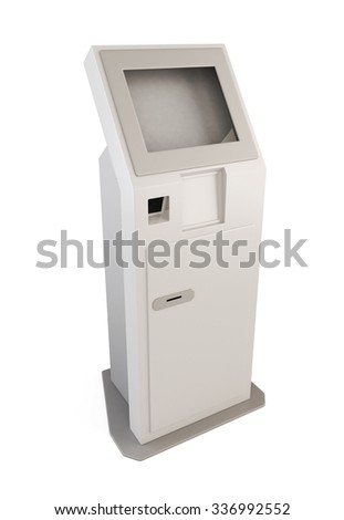 Information terminal with touch screen. 3d illustration isolated on white background.