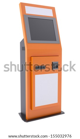 Information terminal with touch screen. Isolated render on a white background - stock photo