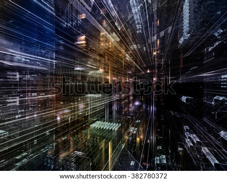 Information Trails series. Abstract design made of Fractal three dimensional textures in perspective on the subject of science, communications and modern technology - stock photo