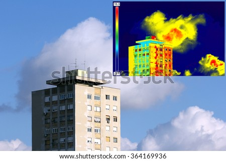 Infrared and real image showing lack of thermal insulation on Residential building - stock photo