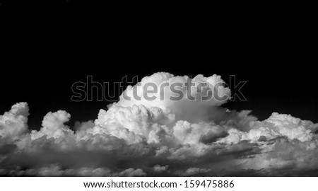 Infrared Clouds with large black copy space area.