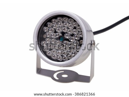 Infrared illuminators night lighting for security systems and video surveillance isolated on white background - stock photo