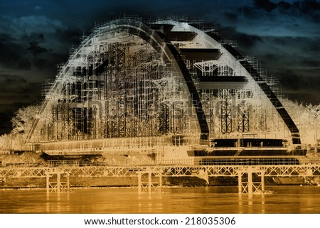 Infrared image of bridge under construction over Danube river - stock photo