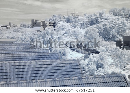 infrared photo of building