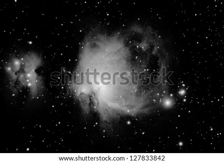 infrared real picture taken by telescope of the great nebula, located in orion constellation, is one of the most famous astronomical objetcs. It can be seen even by naked eyes, in winter - stock photo