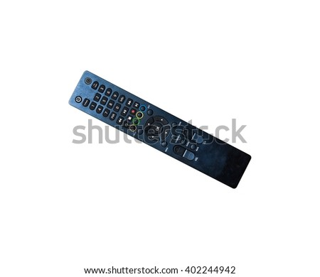 Infrared remote control for TV satellite receiver isolated on white background. - stock photo