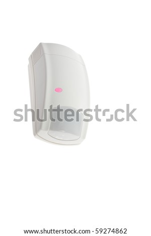 Infrared sensor is a passive infrared detector with pet-immunity detection. - stock photo