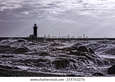 Infrared stormy seascape, Porto, Portugal - stock photo