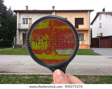 Infrared Thermal Imaging Investigation with Loupe - stock photo