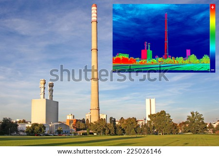 Infrared thermography image showing the heat emission at the Chimney of energy station - stock photo