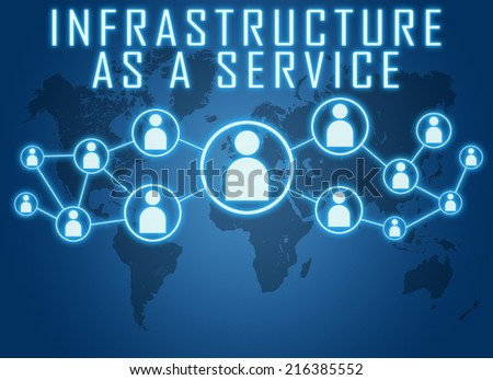Infrastructure as a Service concept on blue background with world map and social icons. - stock photo