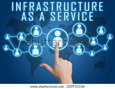 Infrastructure as a Service concept with hand pressing social icons on blue world map background. - stock photo