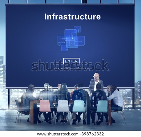 Infrastructure Construction Chip Link Concept - stock photo