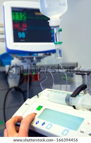infusion, medical monitor and perfusion pump - stock photo
