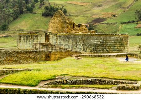 INGAPIRCA RUINS, THE MOST IMPORTANT INCA CIVILIZATION CONSTRUCTIONS IN MODERN ECUADOR  - stock photo
