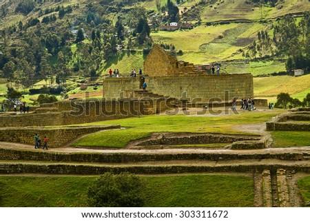 Ingapirca the most important inca archaelogical ruins in Ecuador - stock photo