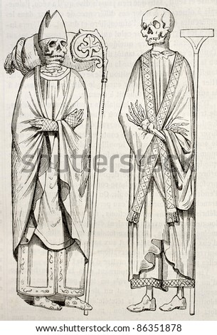 Ingon and Morard exhumed, prelates buried in Saint-Germain-des-Pres abbey, Paris. Created by Lenoir, published on Magasin Pittoresque, Paris, 1843 - stock photo