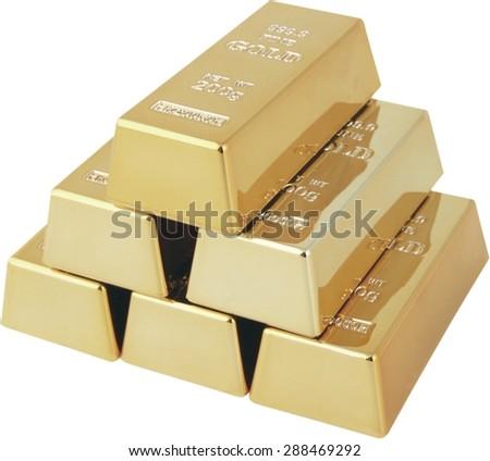 Ingot, Gold, Gold. - stock photo