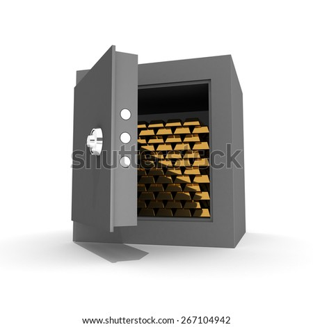 Ingots of gold in the safe - stock photo