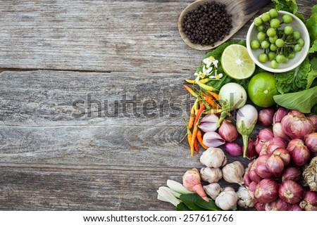 ingredient on grain wood top view - stock photo