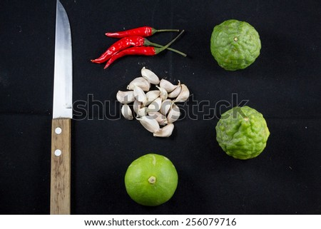 Ingredient thai food and knife isolate cooking - stock photo