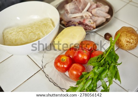 Ingredient to cook Indonesian chicken stew - stock photo