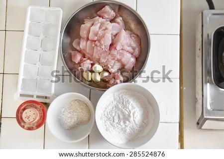Ingredient to make fish ball - stock photo