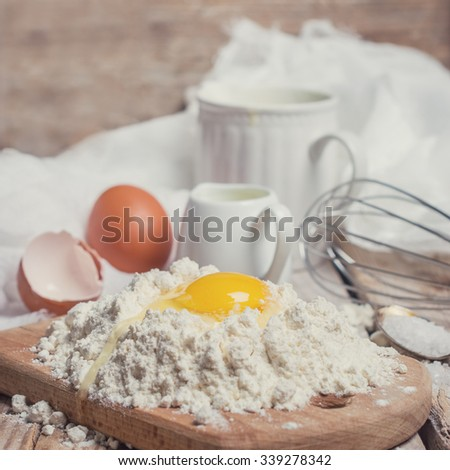 ingredients and equipment for dough  - stock photo