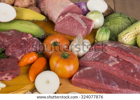 Ingredients Colombian sancocho with raw meat - stock photo