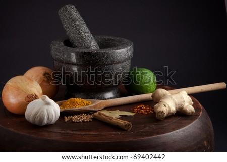 Ingredients for a curry, stew or tagine - stock photo