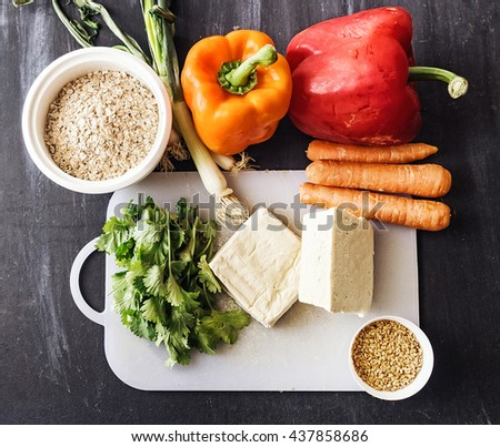 Ingredients for a vegetable tofu burger - stock photo