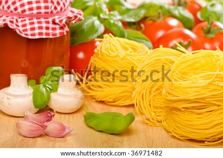 Ingredients for an Italian pasta meal - stock photo