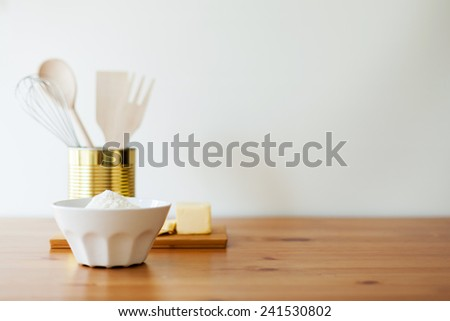 Ingredients for bake flour and butter - stock photo