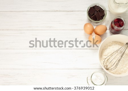 Ingredients for baking a cake, top view - stock photo