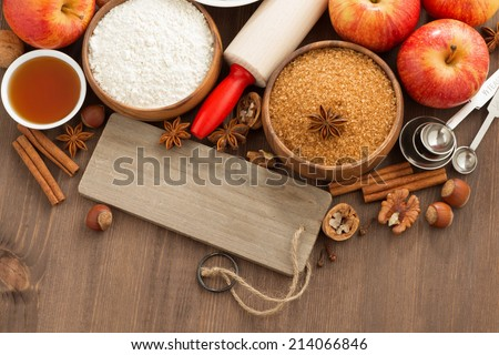ingredients for baking apple pie and a wooden nameplate, top view, horizontal - stock photo