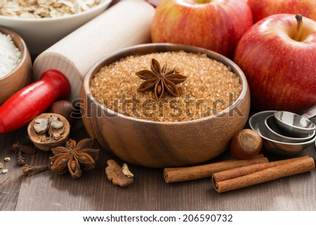 ingredients for baking apple pie, close-up - stock photo
