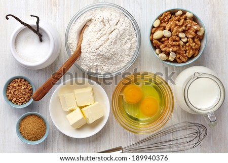 Ingredients for baking cake - stock photo