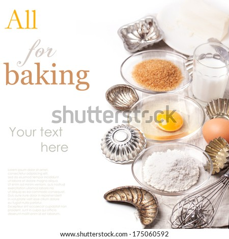 Ingredients for baking (flour, egg, brown sugar) with vintage cupcake's forms over white with sample text
