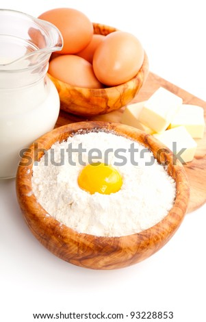 ingredients for baking, isolated on a white background - stock photo