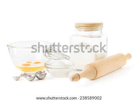 Ingredients for baking isolated over white - stock photo