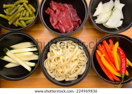ingredients for cooking Chinese noodles - stock photo
