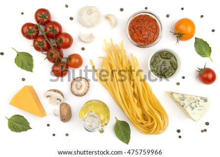 Ingredients for cooking of homemade Italian pasta on white background
