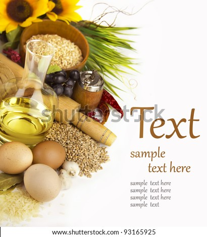 Ingredients for cooking on a white background  (With sample text) - stock photo