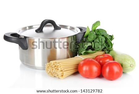 Ingredients for cooking pasta isolated on white